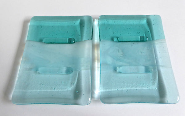 Fused Glass Soap Dish in Shades of Aqua