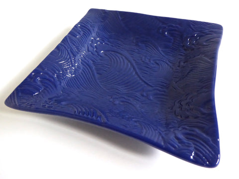 Wave Imprint Fused Glass Dish in Deep Indigo
