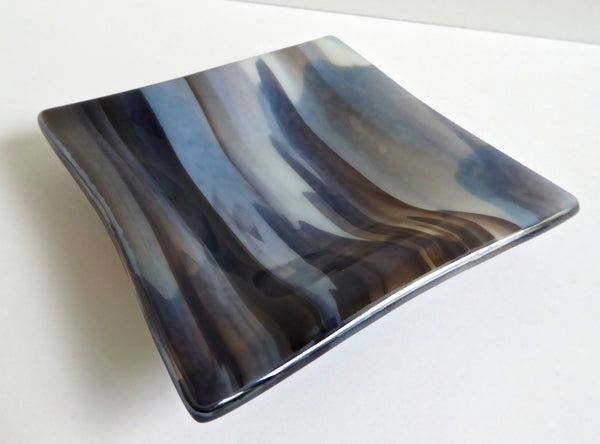 Fused Glass Dish in Streaky Browns and Cream