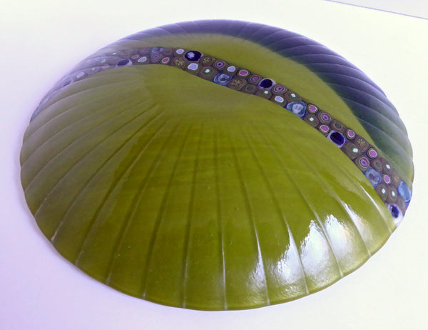 Round Fused Glass Bowl in Green and Blue