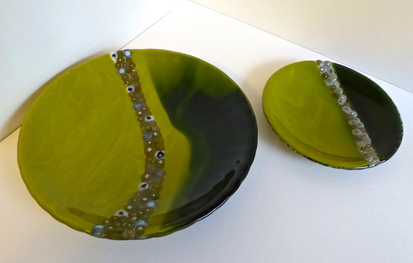 Fused Glass Dish in Green and Blue