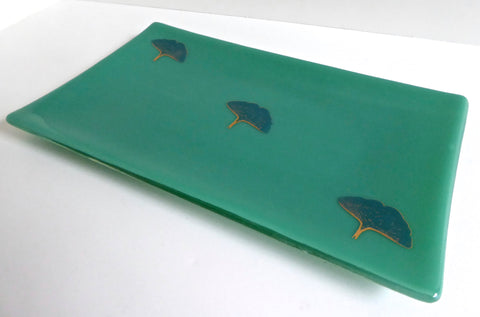 Fused Glass Ginkgo Leaf Tray in Apple Jade Green