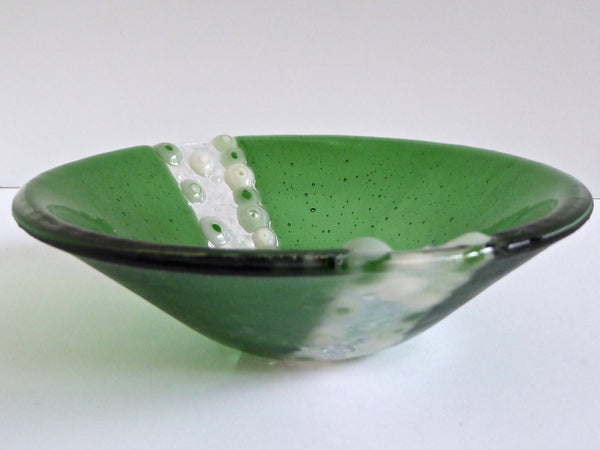 Fused Glass Bowl in Green and Cream