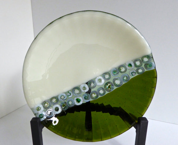Fused Glass Dish in Green and Cream