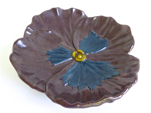 Plum and Blue Fused Glass Pansy Dish