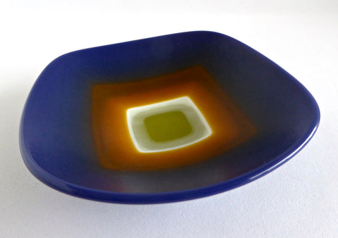 Blue, Orange and Green Fused Glass Dish