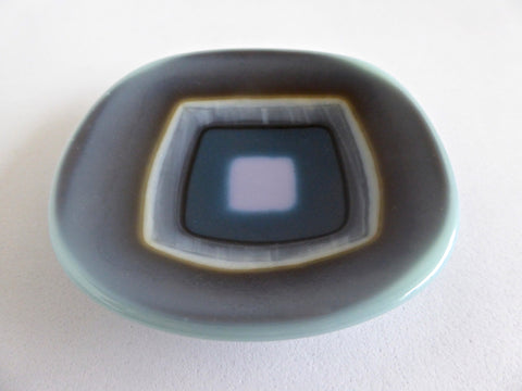 Blue, Vanilla and Pink Fused Glass Ring Dish