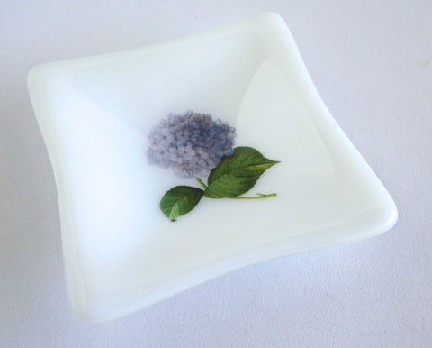 Fused Glass Hydrangea Dish