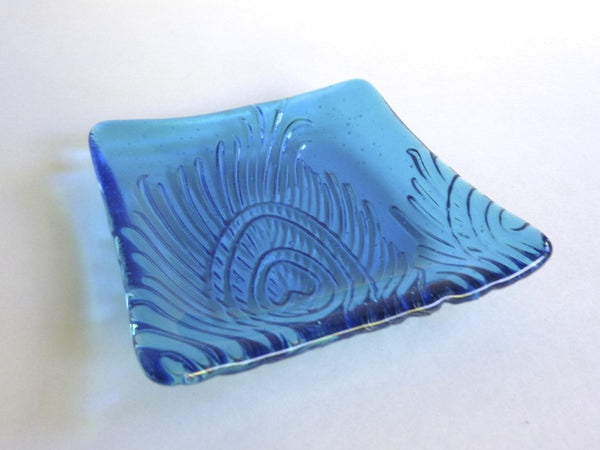 Fused Glass Peacock Feather Imprint Plate