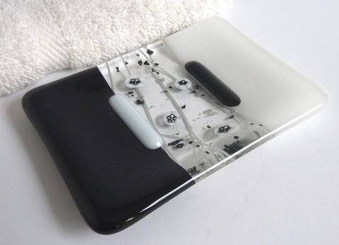 Fused Glass Soap Dish in Black and White