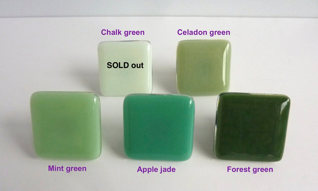Green Fused Glass Cabinet Door Knobs-2