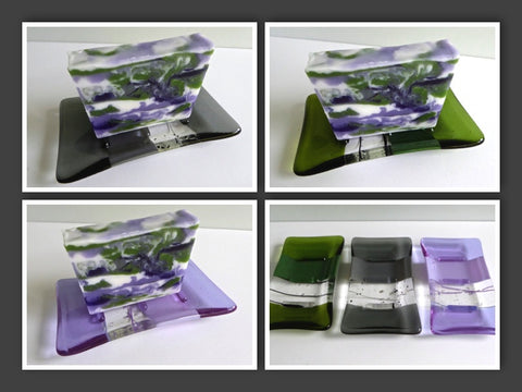 Fused Glass Soap Dish for Lavender Soap Gift Set-1