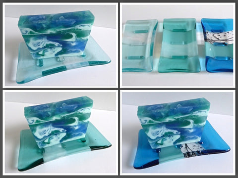 "Fused Glass Soap Dish for ""Ocean Mist Soap"" Gift Set"