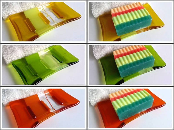 Fused Glass Soap Dish for Groovy Day Soap Gift Set-1