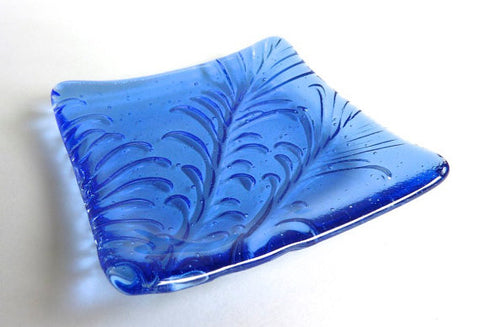 Fused Glass Feather Imprint Plate