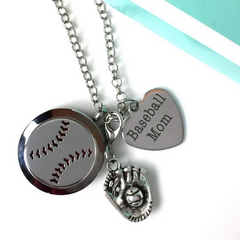 Baseball Mom Essential Oil Diffuser Necklace