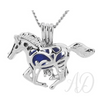 Galloping Horse Diffuser Necklace ~ Silver-tone-Adorn & Diffuse Essential Oil Aromatherapy Jewelry