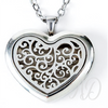 Heart-shaped Scroll Design Diffuser Locket Necklace-Adorn & Diffuse Essential Oil Aromatherapy Jewelry