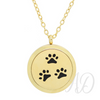 Paw Prints Diffuser Locket Necklace ~ Gold-Adorn & Diffuse Essential Oil Aromatherapy Jewelry