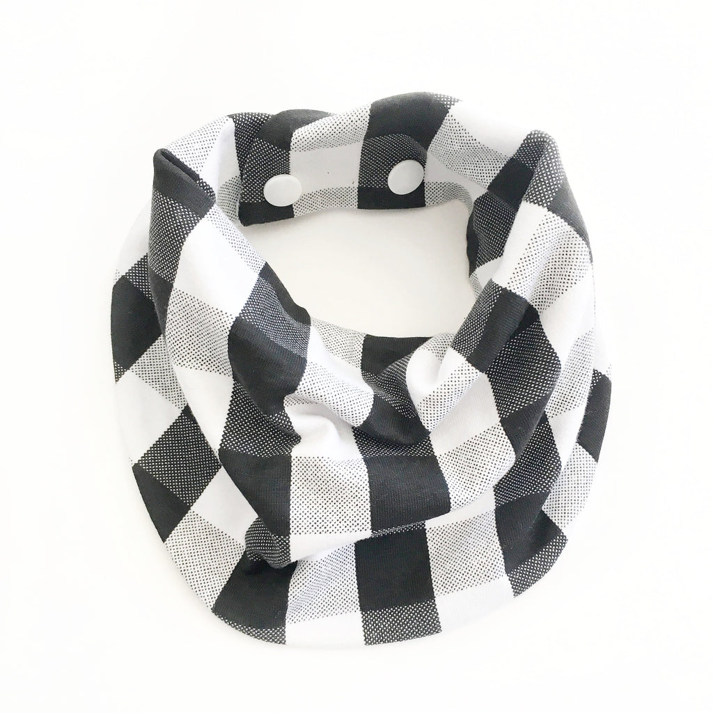 Drool Scarf - White and Black Plaid