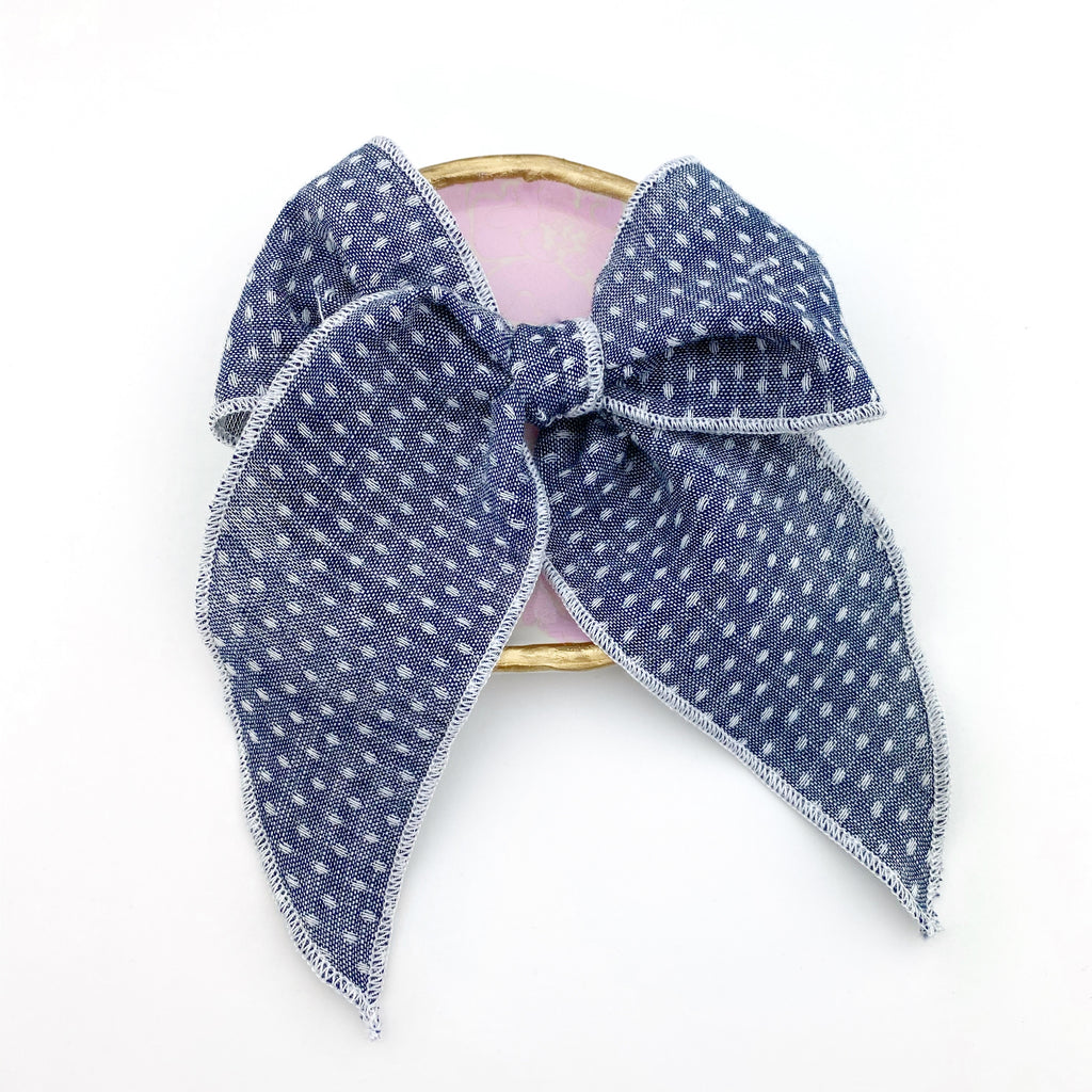 Charlotte Bow - Chambray Dot