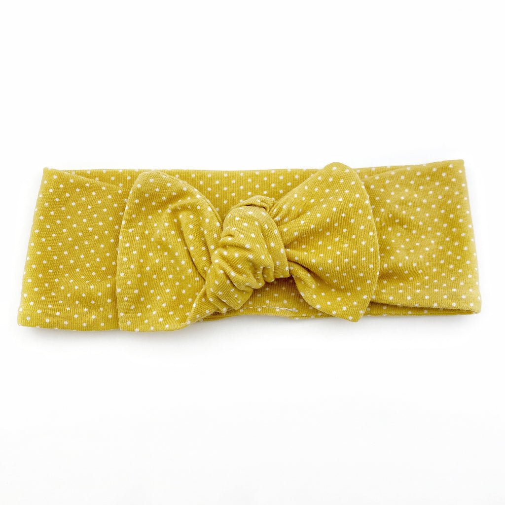 Top Knot Headband - Mustard Dot