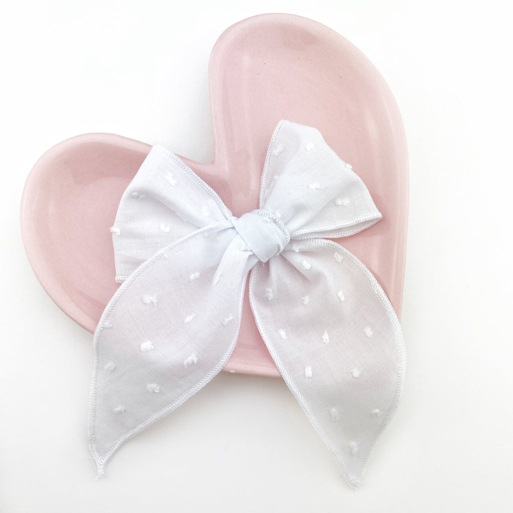 Charlotte Bow - White Swiss Dot