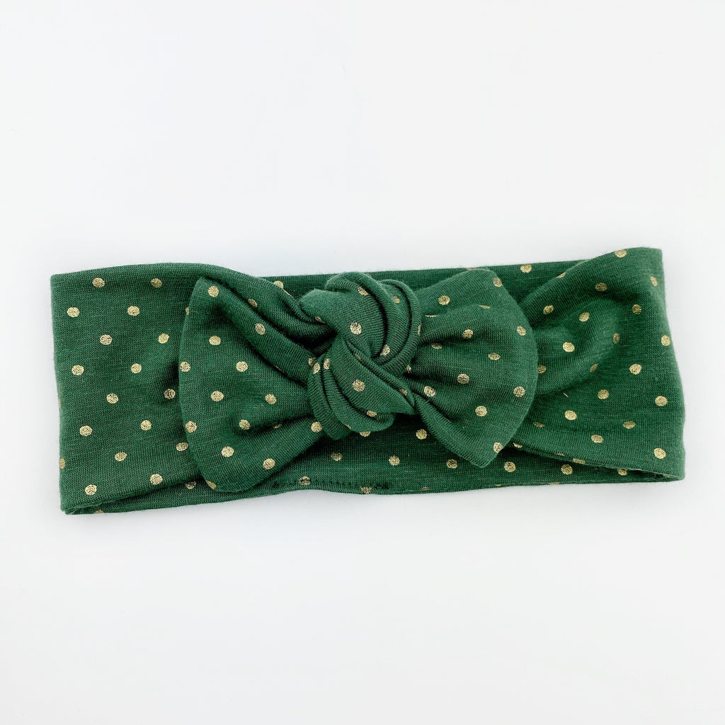 Top Knot Headband - Hunter Green Gold Dot