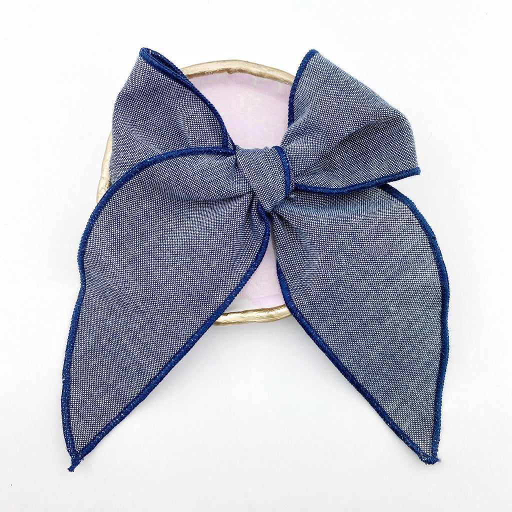 Charlotte Bow - Dark Denim Linen