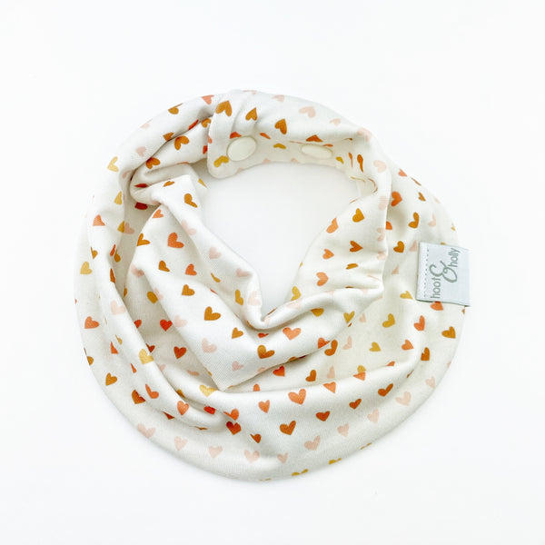 Drool Scarf - Tan Hearts