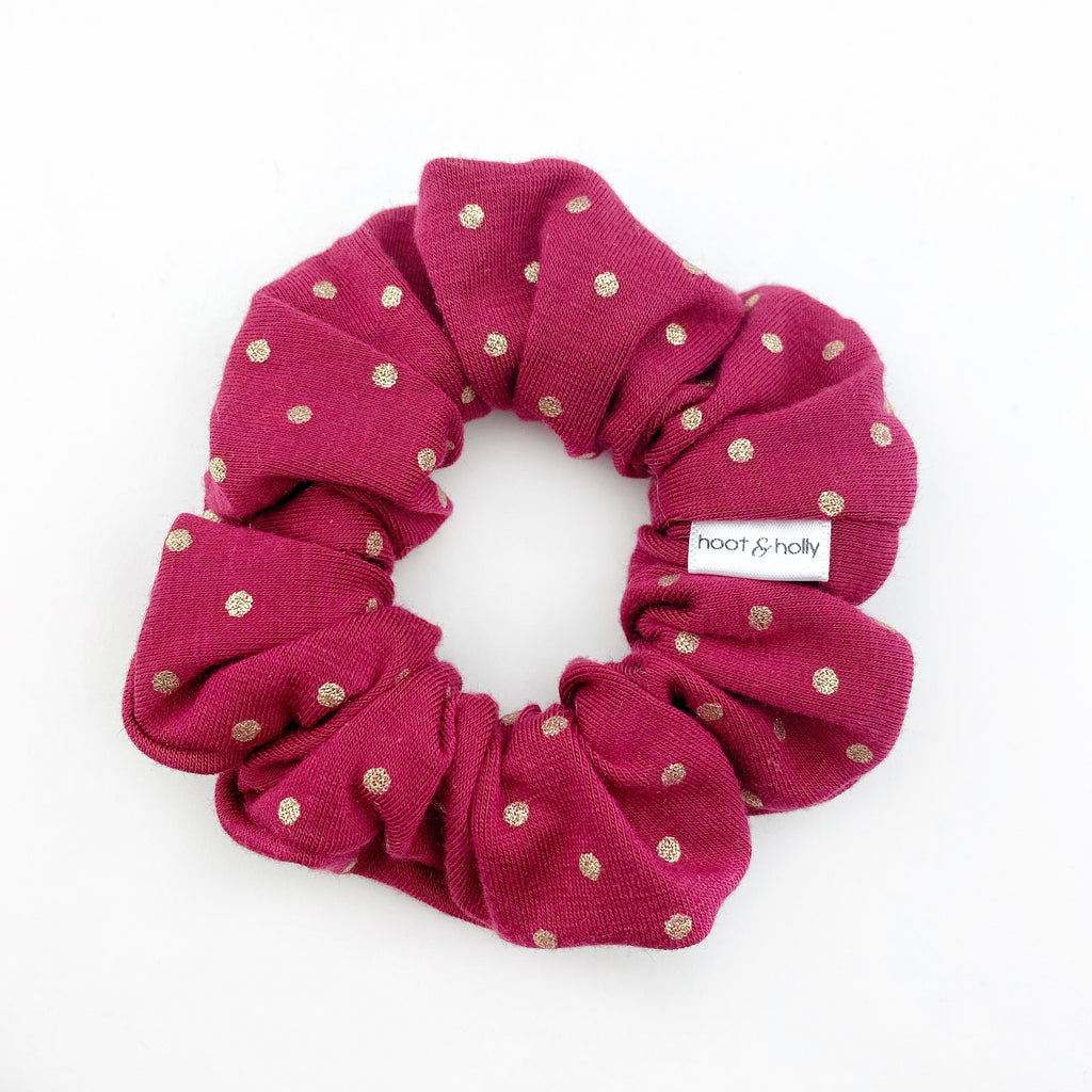 Scrunchies - Cranberry Gold Dot