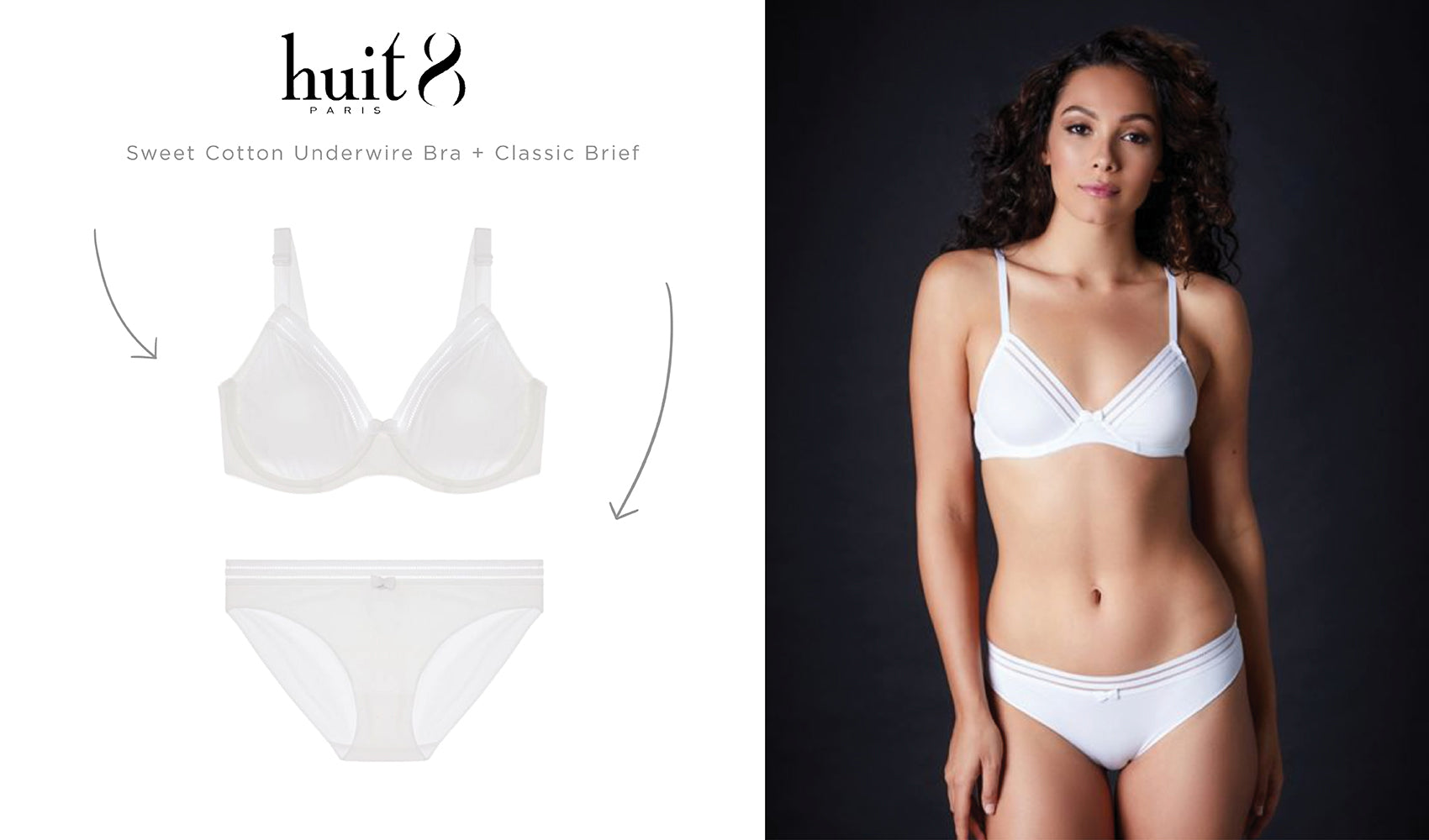 Huit Sweet Cotton Underwire Bra and Classic Brief