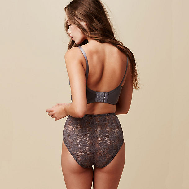 Fortnight Lingerie  Mira High Waist Bikini With gorgeous full coverage Italian jersey in front and soft, stunning shows-just-the-right-amount-of-skin French lace in back, this elegant high waist bikini is almost too sublime.