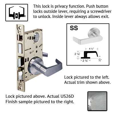 Cal Royal NM Series Grade 1 Mortise Lock With SS Trim