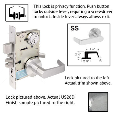 Cal Royal SC Series Grade 1 Mortise Lock With SS Trim
