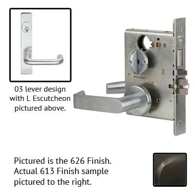 Schlage L9070P 03L 613 Oil Rubbed Bronze Finish Classroom Lever Mortise Lock With Cylinder