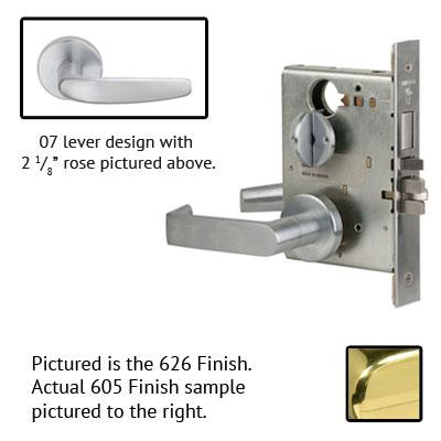 Schlage L9070P 07A 605 Polished Brass Finish Classroom Lever Mortise Lock With Cylinder