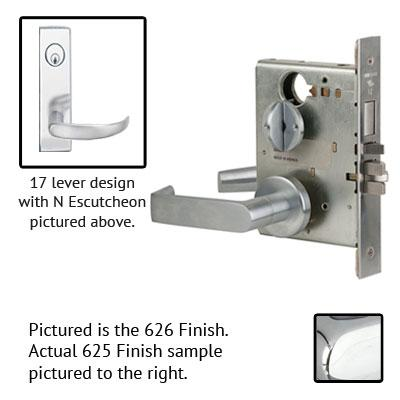 Schlage L9070P 17N 625 Polished Chrome Finish Classroom Lever Mortise Lock With Cylinder