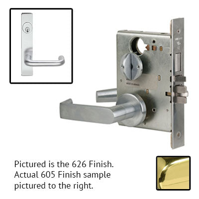 Schlage L9080P 03L 605 Polished Brass Finish Storeroom Lever Mortise Lock With Cylinder