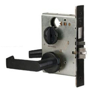 Schlage L9080P 06A 622 Black Finish Storeroom Lever Mortise Lock With Cylinder