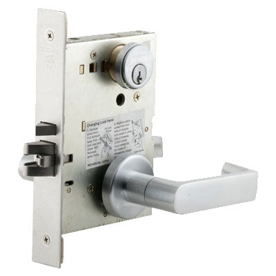 Schlage L9080P 06A 626 Brushed Chrome Finish Storeroom Lever Mortise Lock With Cylinder