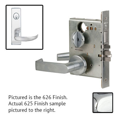 Schlage L9080P 17N 625 Polished Chrome Finish Storeroom Lever Mortise Lock With Cylinder