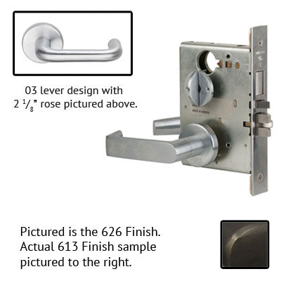 Schlage L9070P 03A 613 Oil Rubbed Bronze Finish Classroom Lever Mortise Lock With Cylinder