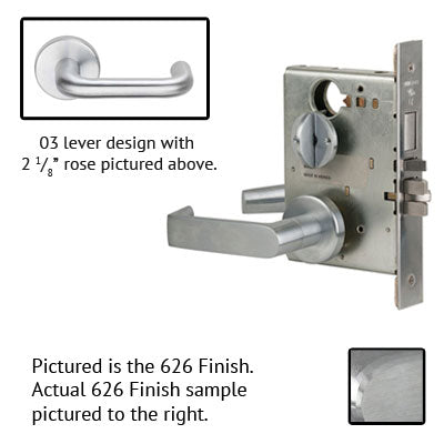 Schlage L9070P 03A 626 Brushed Chrome Finish Classroom Lever Mortise Lock With Cylinder