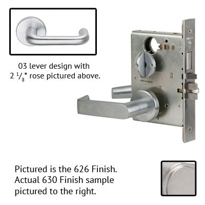 Schlage L9010 03A 630 Stainless Steel Finish Passage Lever Mortise Lock With Cylinder
