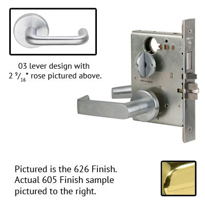 Schlage L9070P 03B 605 Polished Brass Finish Classroom Lever Mortise Lock With Cylinder