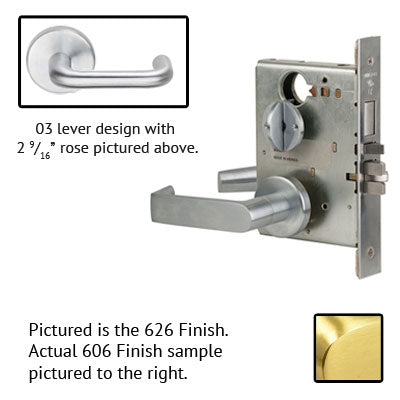 Schlage L9010 03B 606 Brushed Brass Finish Passage Lever Mortise Lock With Cylinder