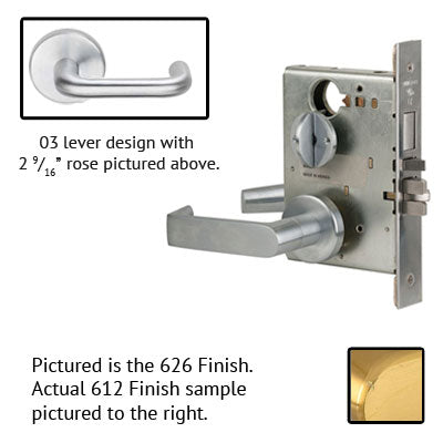 Schlage L9080P 03B 612 Brushed Bronze Finish Storeroom Lever Mortise Lock With Cylinder