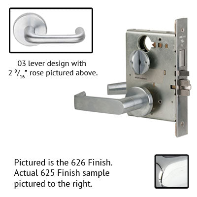 Schlage L9040 03B 625 Polished Chrome Finish Privacy Lever Mortise Lock With Cylinder
