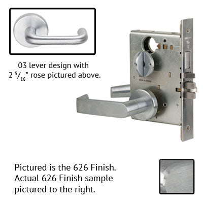 Schlage L9010 03B 626 Brushed Chrome Finish Passage Lever Mortise Lock With Cylinder